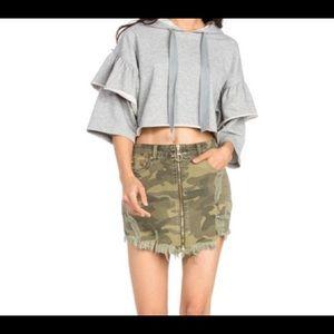 Dance & Marvel Skirts - Distressed Camo Mini Skirt